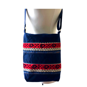 Handwoven Crossbody Purse - Navy, Red & White