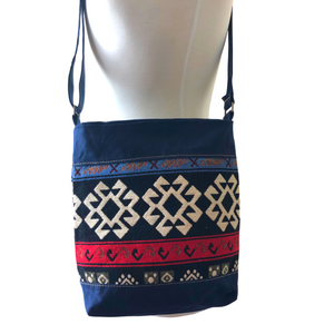 Handwoven Crossbody Purse - Navy, Red, Black & White