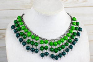 Recycled Paper Bead Necklace - Green Trio