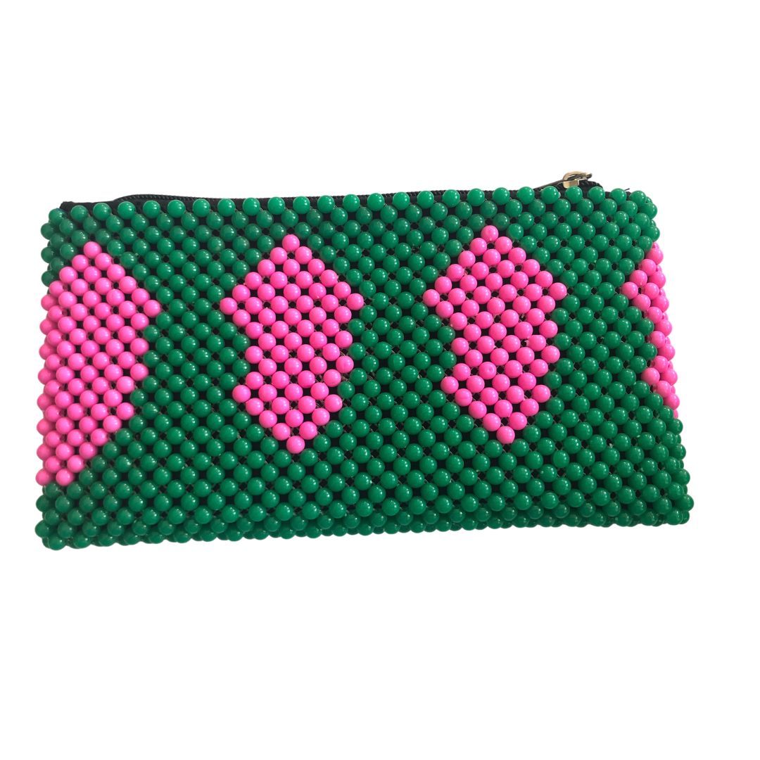 Acrylic Bead Clutch - Green & Pink