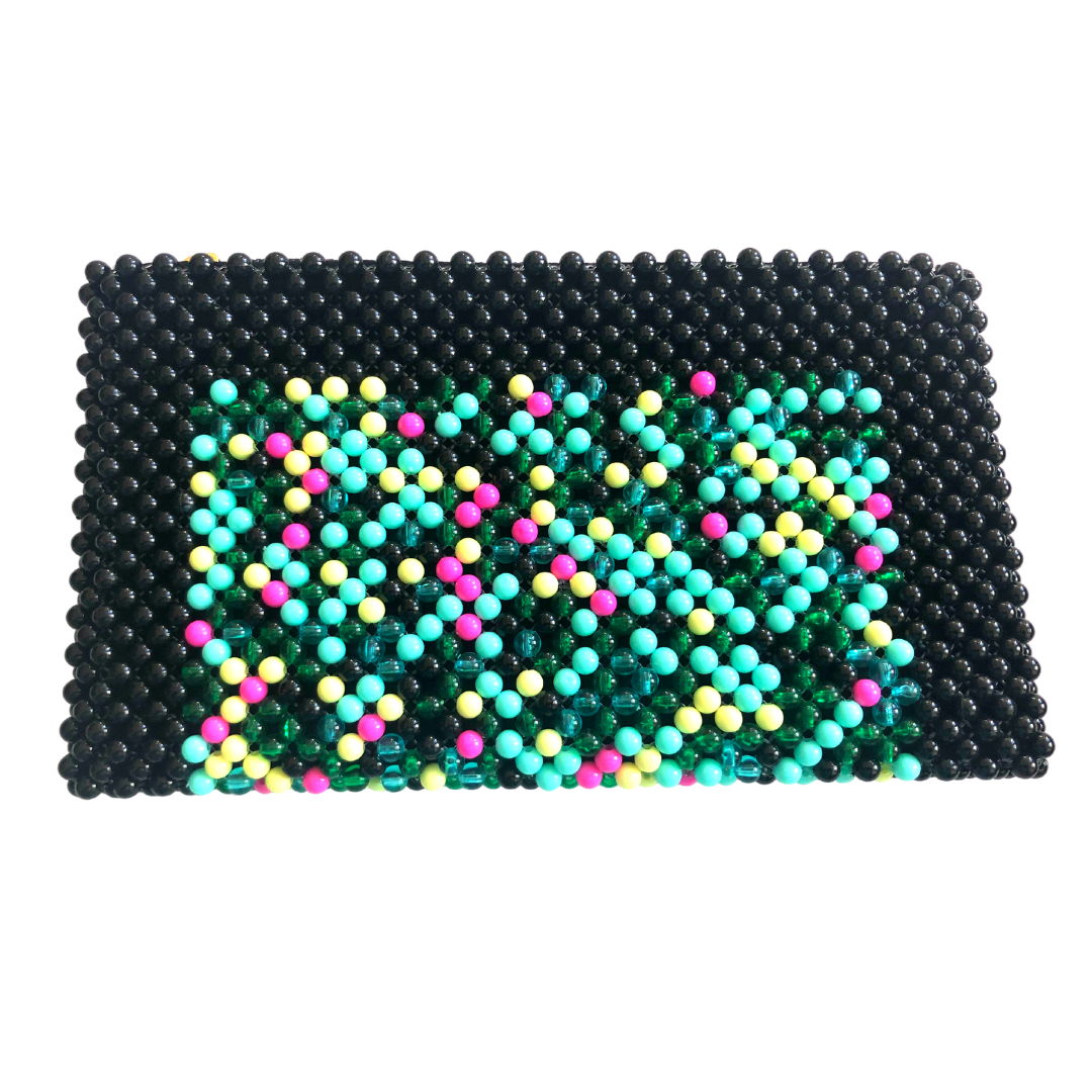 Acrylic Bead Clutch - Black Multi