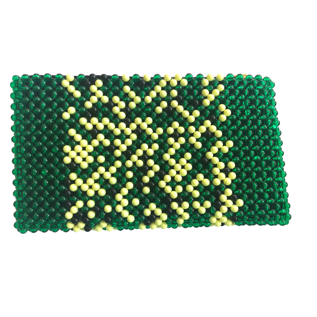 Acrylic Bead Clutch - Green Multi