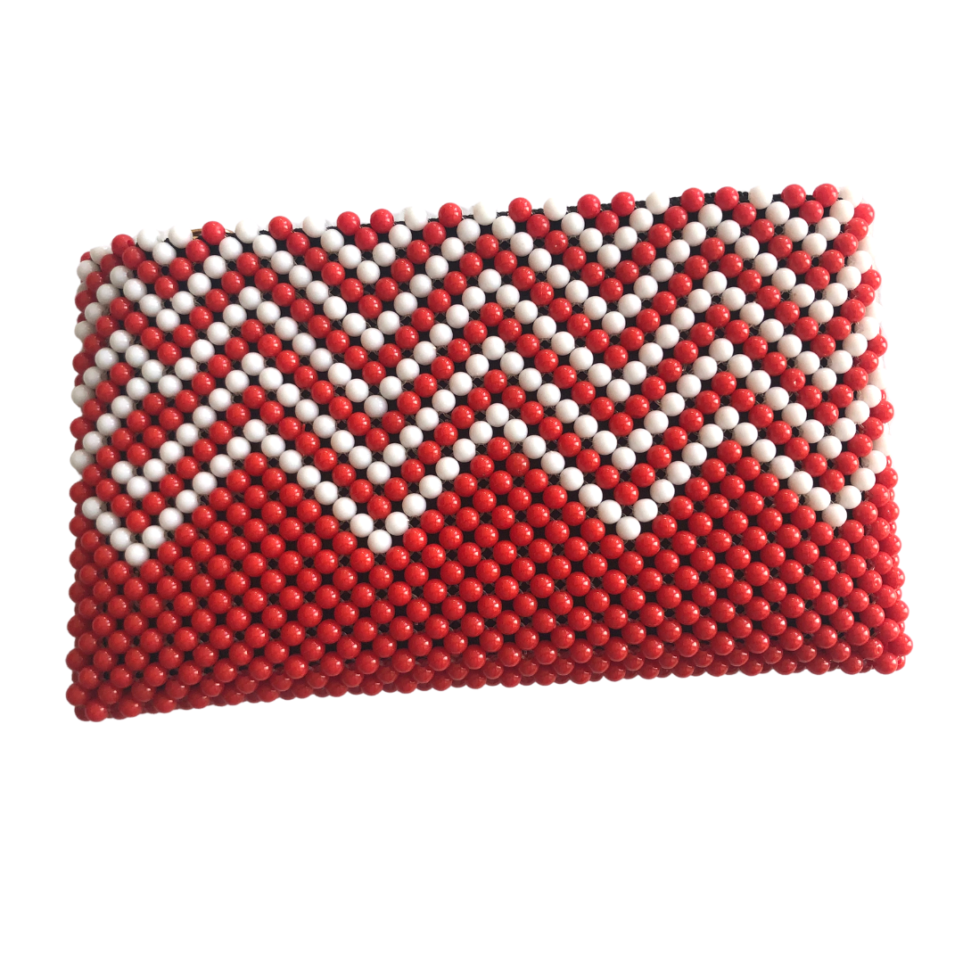 Acrylic Bead Clutch - Red & White