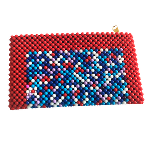 Acrylic Bead Clutch - Red Multi