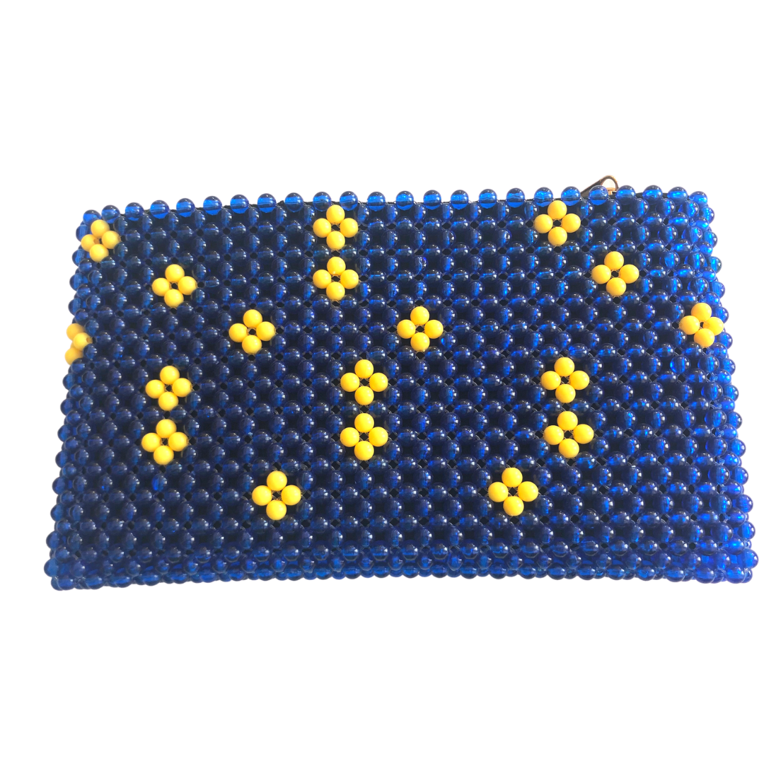 Acrylic Bead Clutch - Blue Yellow Flowers