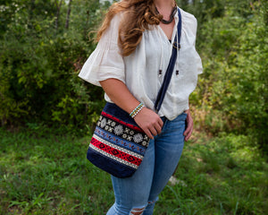 Handwoven Crossbody Purse - Navy, White & Red