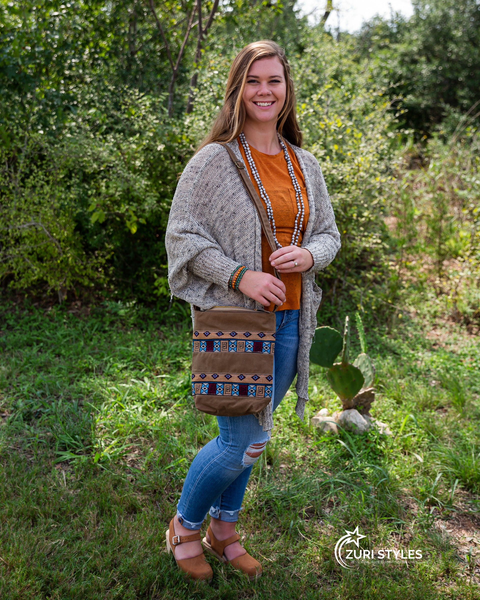 Handwoven Crossbody Purse - Brown with Geometric Shapes