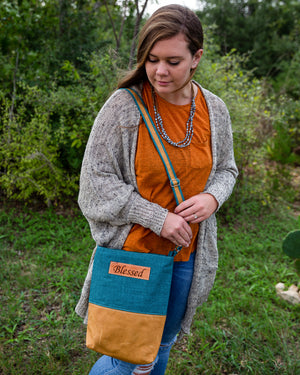 Fabric & Leather Crossbody Bag - Teal Blessed
