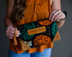 Leather Wristlet Clutch - Be Strong & Courageous