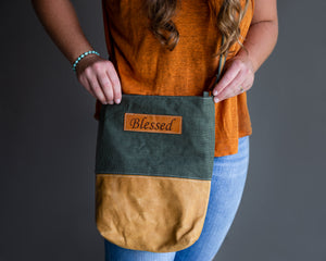 Fabric & Leather Crossbody Bag - Green Blessed