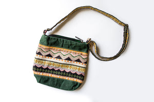 Handwoven Crossbody Purse - Green, pink & orange