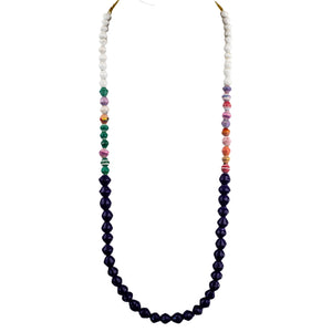 Recycled Paper Bead Necklace - Dark Purple Multi White Trio