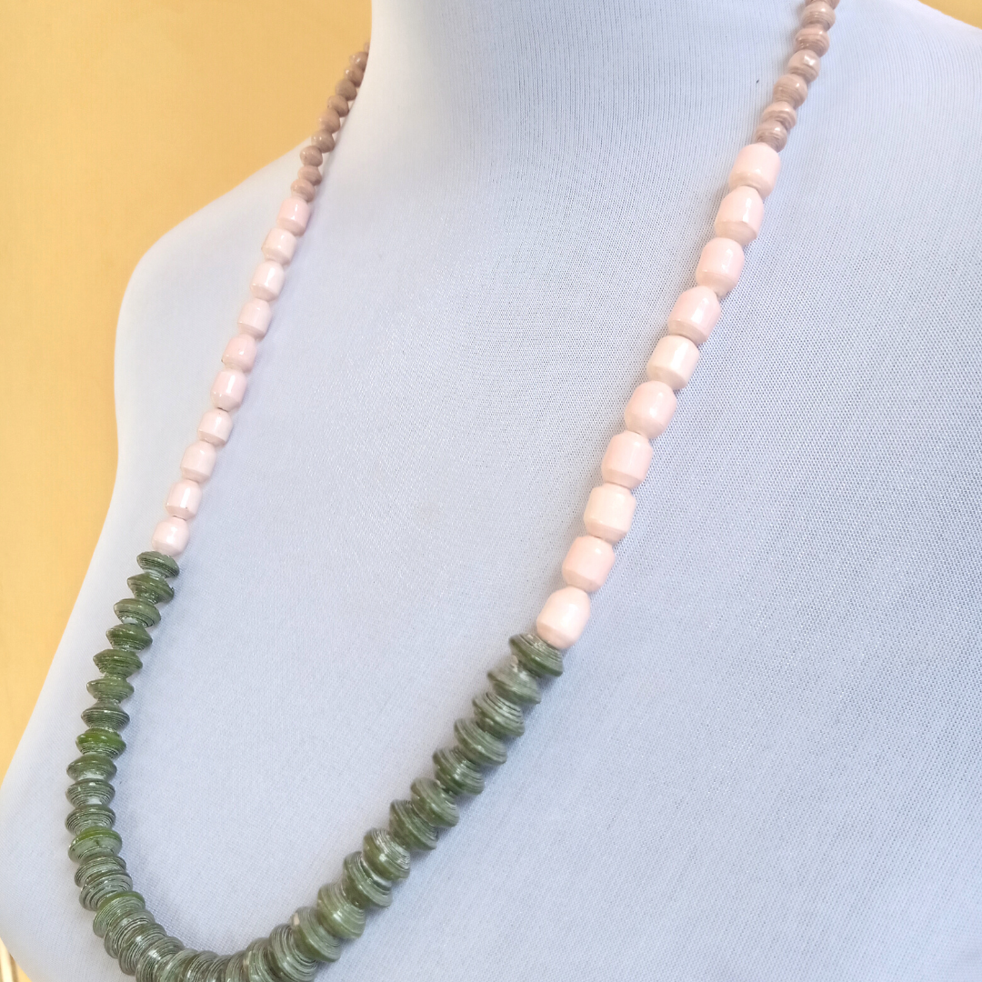 Recycled Paper Bead Necklace - Green Button Necklace