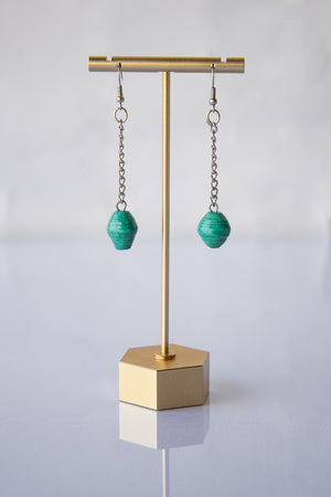 Recycled Paper Bead Teardrop Earrings - Teal