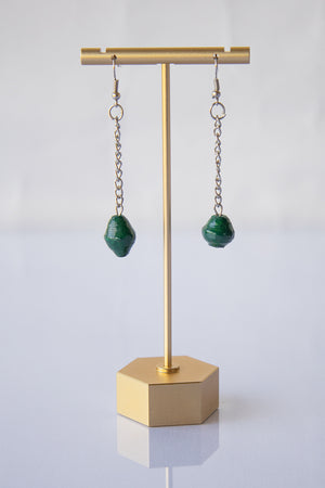 Recycled Paper Bead Teardrop Earrings - Dark green