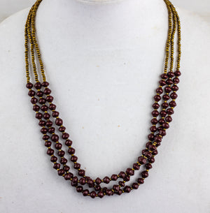 Recycled Paper Bead Necklace - Wine