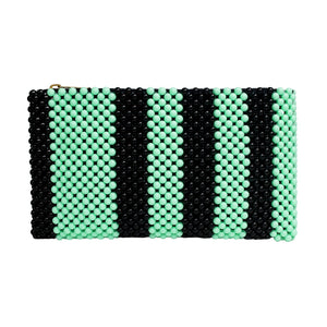 Acrylic Bead Clutch - Mint/Black Stripe
