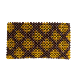 Acrylic Bead Clutch - Brown/Gold Diamonds