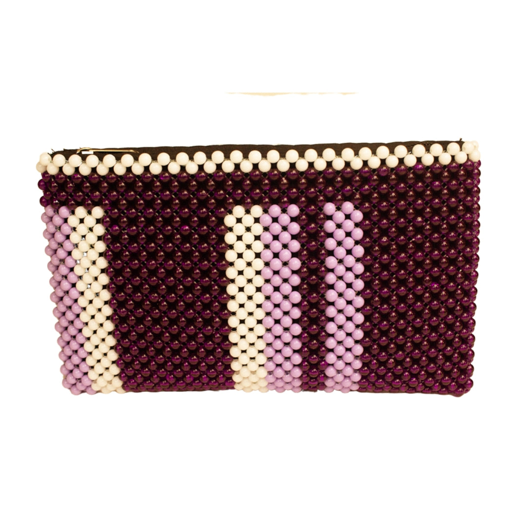 Acrylic Bead Clutch - Purple Bars