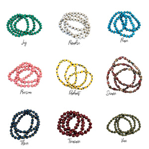 3 for $18 Recycled Paper Bead Simple Bracelet Trio