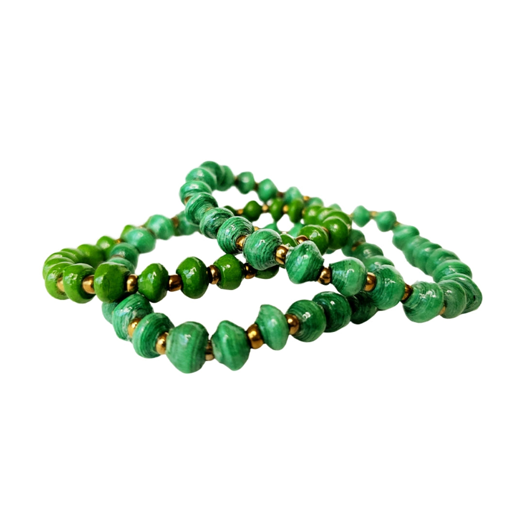 3 for $20 Recycled Paper Bead Simple Bracelet Trio