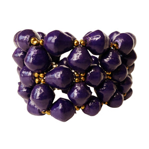 Recycled Paper Bead Bracelet - Royal