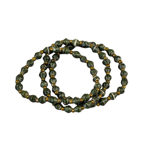 Recycled Paper Bead Clutch - Olive