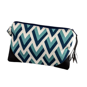 Leather Wristlet Clutch - Blue Peak