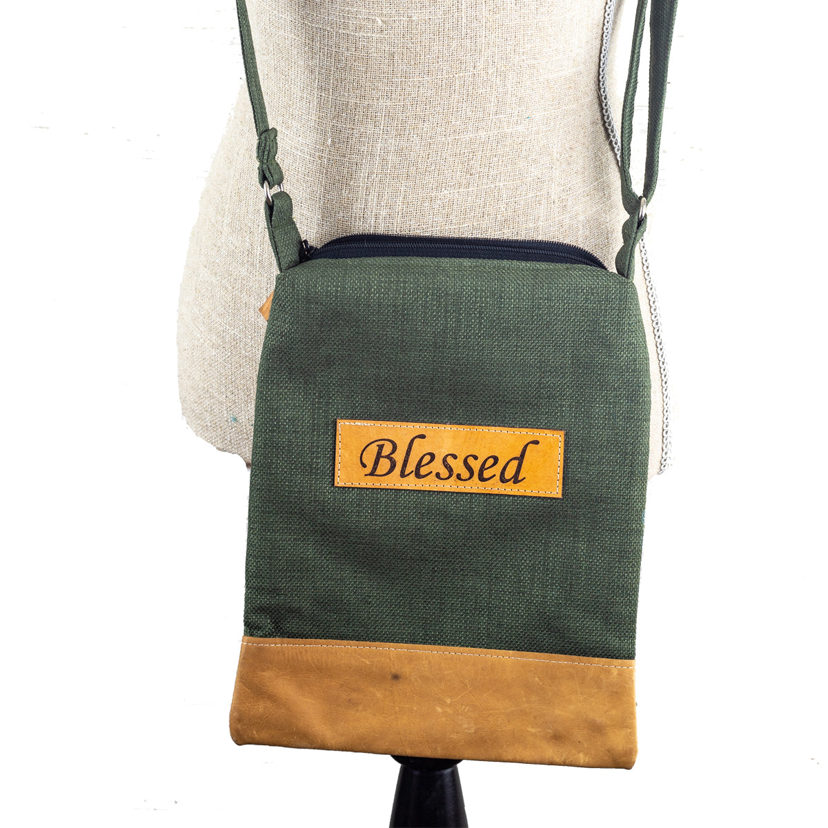 Fabric & Leather  Crossbody Bag - Blessed