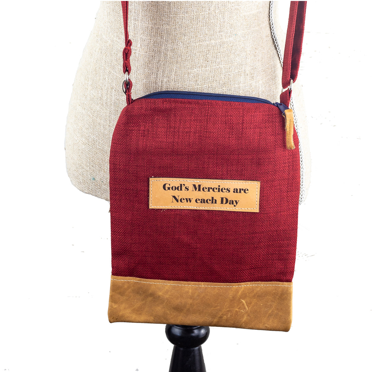 Fabric & Leather Crossbody Bag - God's Mercies