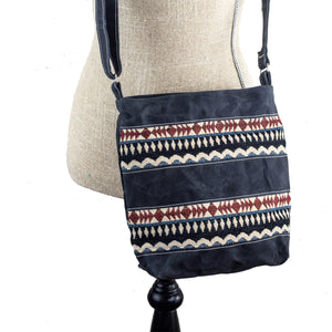 Handwoven Crossbody Purse - Charcoal Grey, Maroon, White