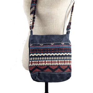 Handwoven Crossbody Purse - Charcoal Grey, Maroon, White Block