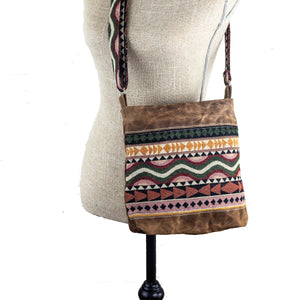 Handwoven Crossbody Purse - Brown, Pink, Green Block