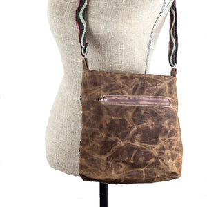 Handwoven Crossbody Purse - Brown, Pink, Green
