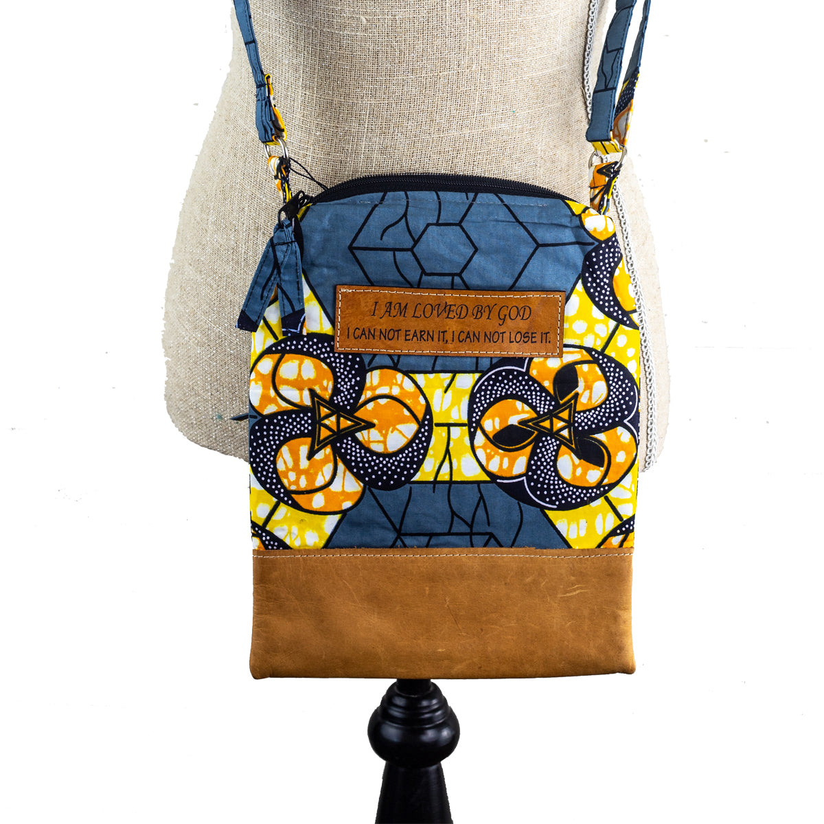 Fabric & Leather Crossbody Purse - I Am Loved