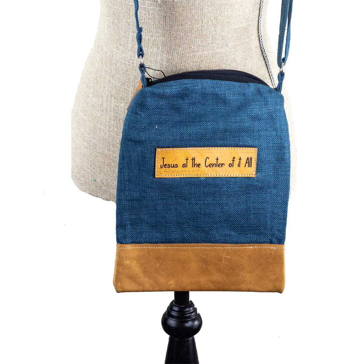 Leather & Fabric Crossbody Bag - Jesus At the Center