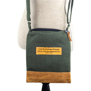 Fabric & Leather Crossbody Bag - Philippians 4:13