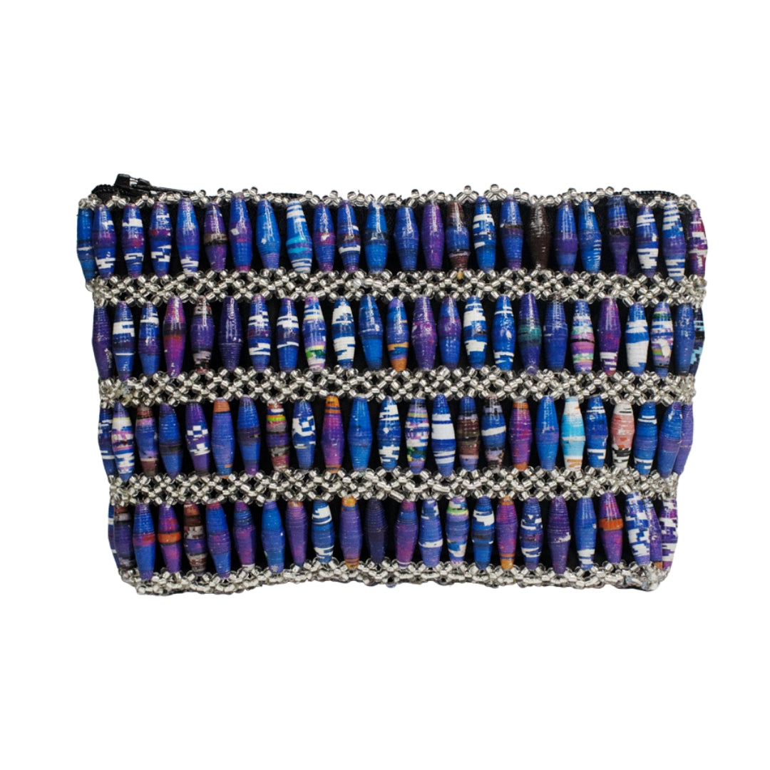 Recycled Paper Bead Clutch - Blue Multi