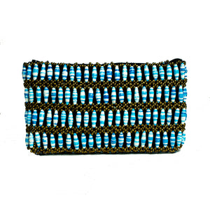 Recycled Paper Bead Clutch - Blue Stripe