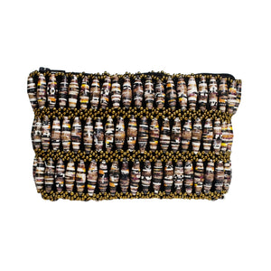 Recycled Paper Bead Clutch - Brown Multi