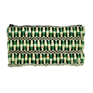 Recycled Paper Bead Clutch - Green Duo