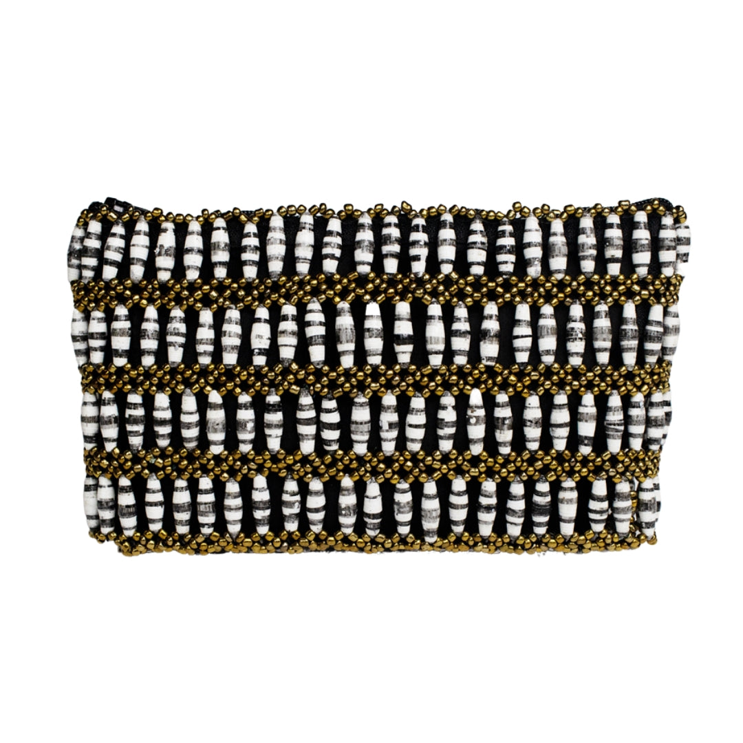 Recycled Paper Bead Clutch - Grey Stripe
