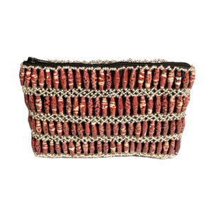 Recycled Paper Bead Clutch - Raspberry Multi