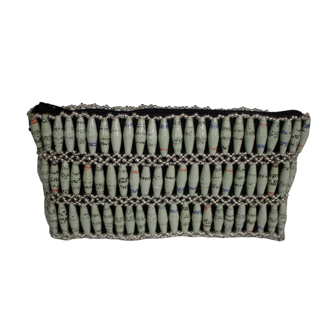 Recycled Paper Bead Clutch - Calm