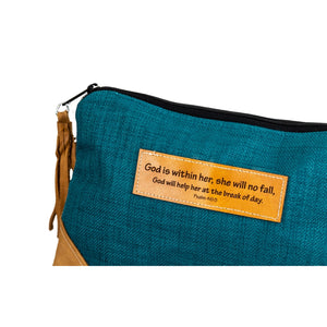 Leather Wristlet Clutch - Psalm 46:5