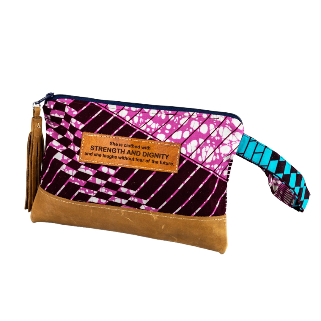 Leather Wristlet Clutch - Strength & Dignity