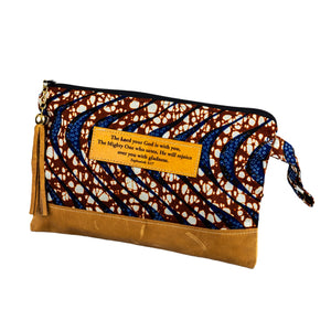 Leather Wristlet Clutch - Zephaniah 3:17