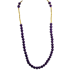 Recycled Paper Bead Necklace - Purple Single