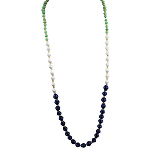 Recycled Paper Bead Necklace - Navy, Mint, White Trio