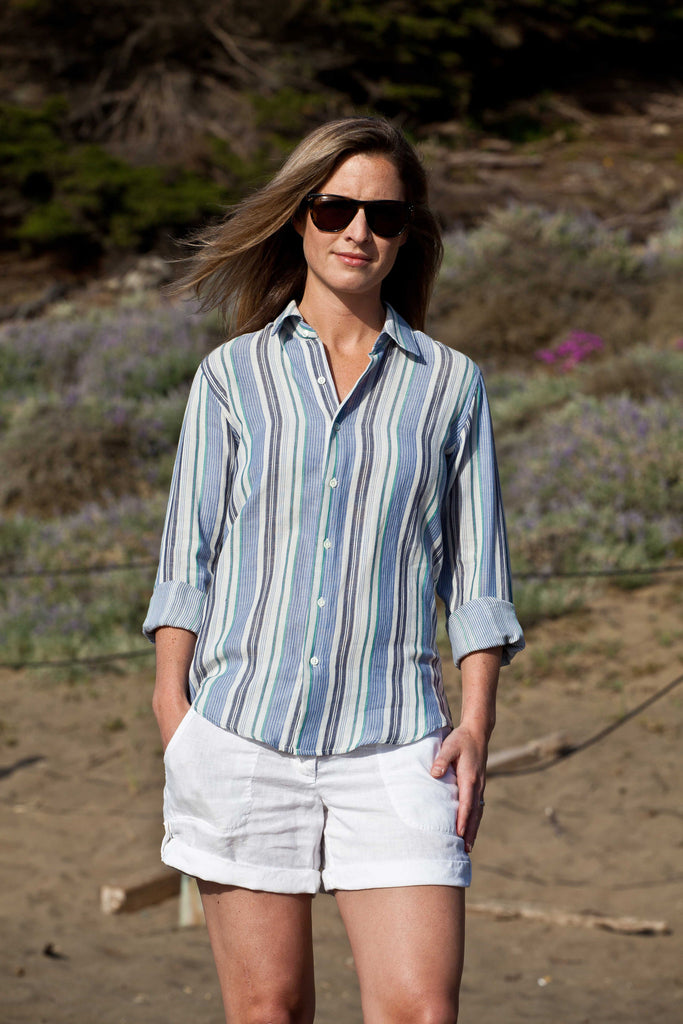 Androgynous Fashion | Androgyny Sea Stripe Signature Shirt | Women's Button-up Shirt | Front View